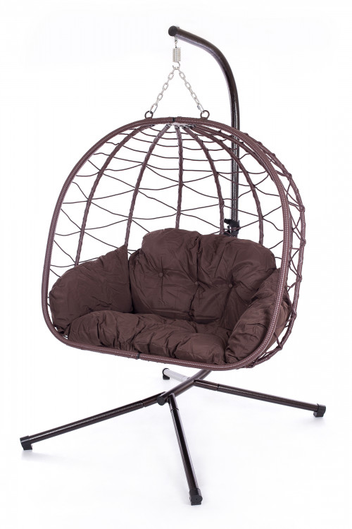 Double foldable hanging egg chair with stand