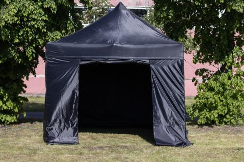 Pop Up portatīvs saliekamā telts ar sienām un jumtu 3x3 m, X sērija (melns, alumīnija ramis, poliesters-oxford 600D PU)