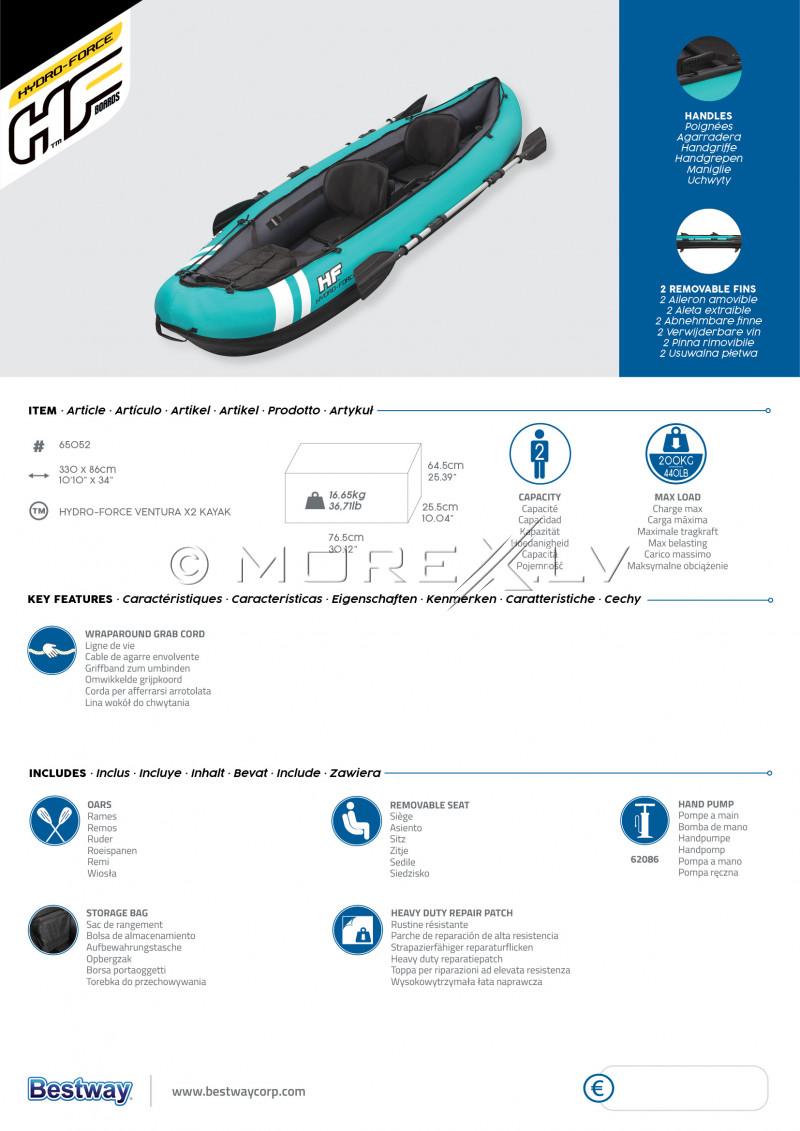 Two-seat inflatable kayak Bestway Ventura X2, 330x86 cm, 65052