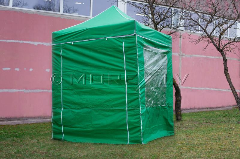 Pop Up Saliekamā nojume 2x2 m, ar sienām, Zaļa, H sērija, tērauds (tents, paviljons, telts)