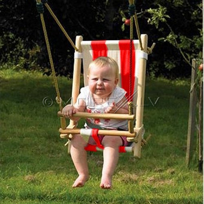 Kids wooden swing with canvas seat 45х31 cm, КВТ red-and-white