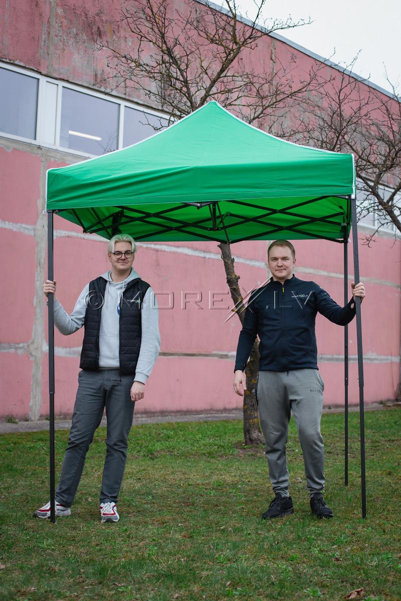 Pop Up Saliekamā nojume 2x2 m, bez sienām, Zaļa, H sērija, tērauds (tents, paviljons, telts)