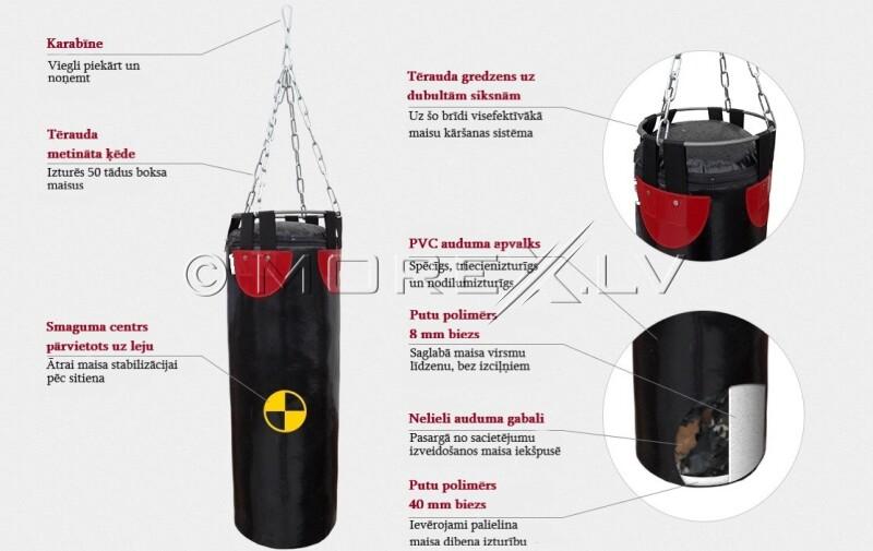 Boksa maiss SANRO 150/33 cm, 50 kg melna